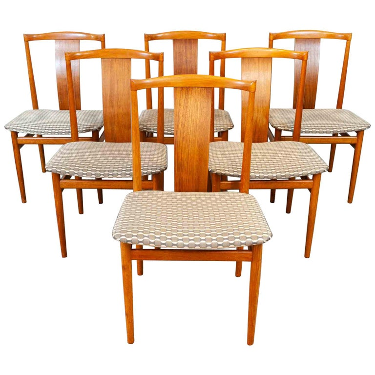 Set of 6 1960s Danish Teak Dining Chairs by Henning Sorensen for Danex For Sale