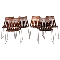 Set of 6 1960s Norwegian Rosewood and Chrome Dining Chairs by Hans Brattrud