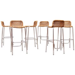 Set of 6 1970s Charlottte Perriand Style Bar Stools