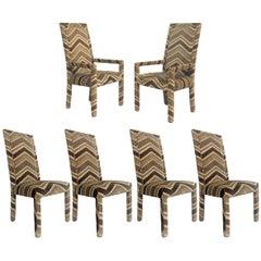 Set of 6 1970s Glam Zig Zag Parsons or Tuxedo Velvet Upholstered Dining Chairs