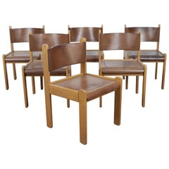 Set of 6 1970s Italian Oak Dining Chairs with Bent Leather Seats