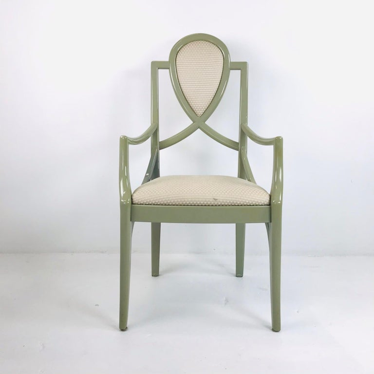 Set of 6 1980s Gray Lacquered Dining Chairs For Sale 4