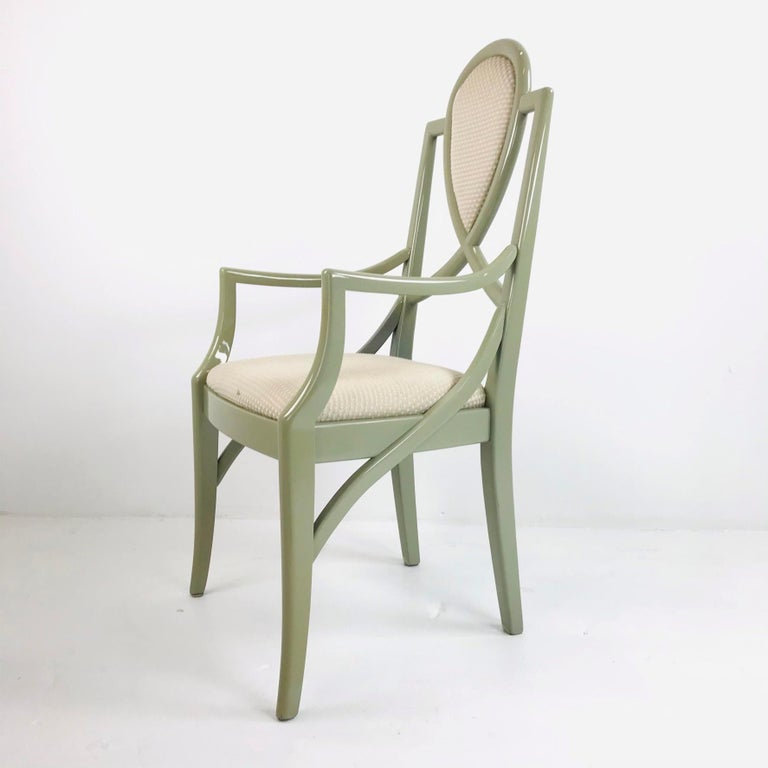 Set of 6 1980s Gray Lacquered Dining Chairs For Sale 5