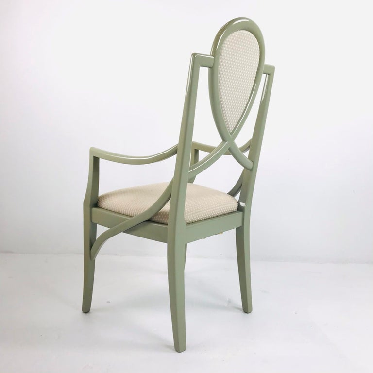 Set of 6 1980s Gray Lacquered Dining Chairs For Sale 6