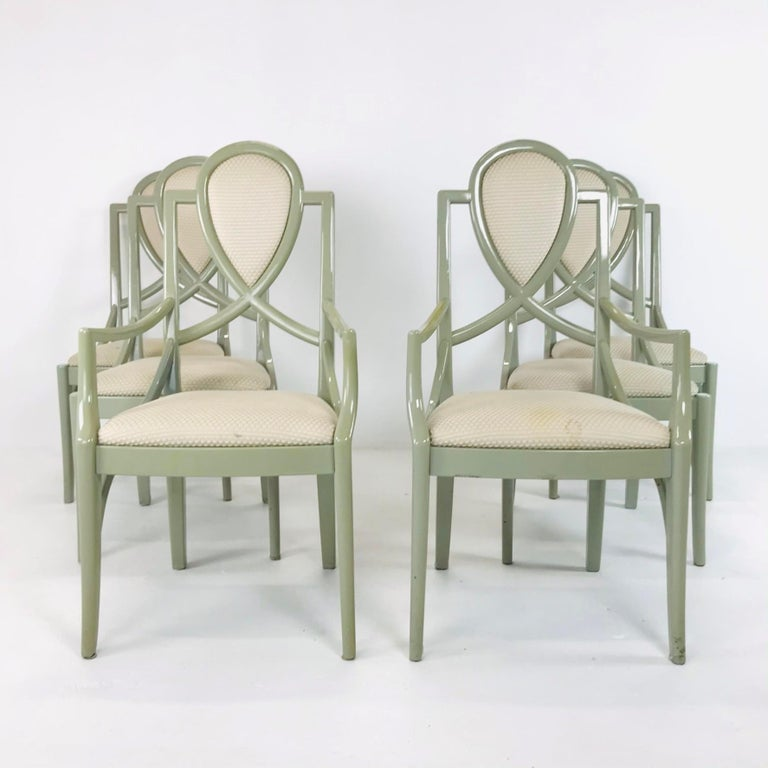 Beautiful set of 6 1980s lacquered dining chairs (2 armchairs and 4 side chairs). Re-upholstery recommended.
