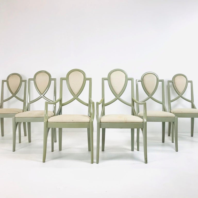 Art Deco Set of 6 1980s Gray Lacquered Dining Chairs For Sale