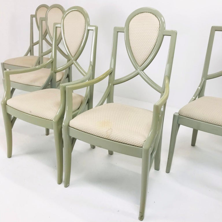 Set of 6 1980s Gray Lacquered Dining Chairs In Good Condition For Sale In Dallas, TX