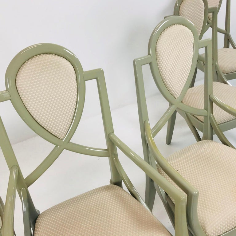 Late 20th Century Set of 6 1980s Gray Lacquered Dining Chairs For Sale
