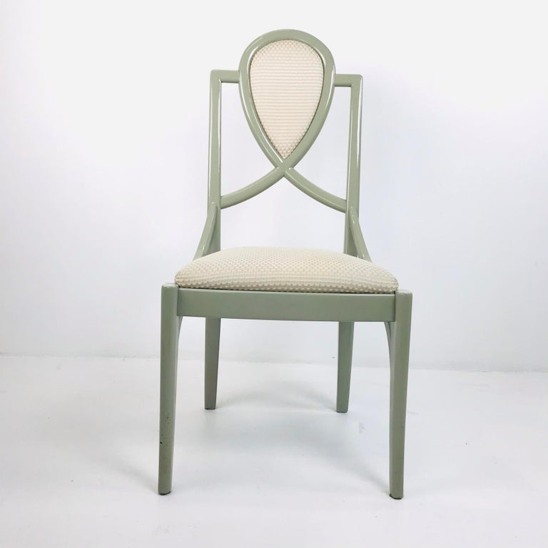 Set of 6 1980s Gray Lacquered Dining Chairs For Sale 1