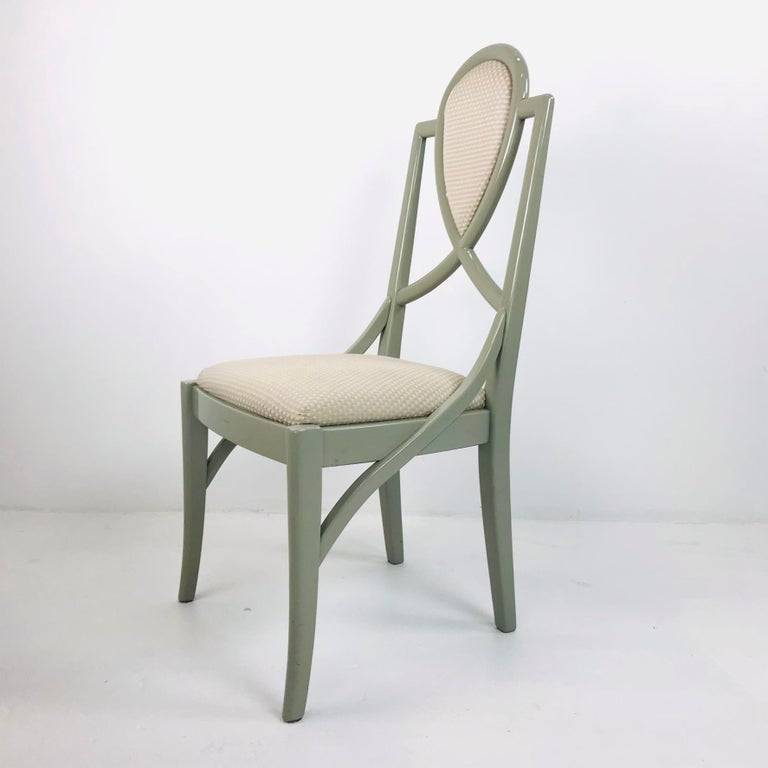 Set of 6 1980s Gray Lacquered Dining Chairs For Sale 2