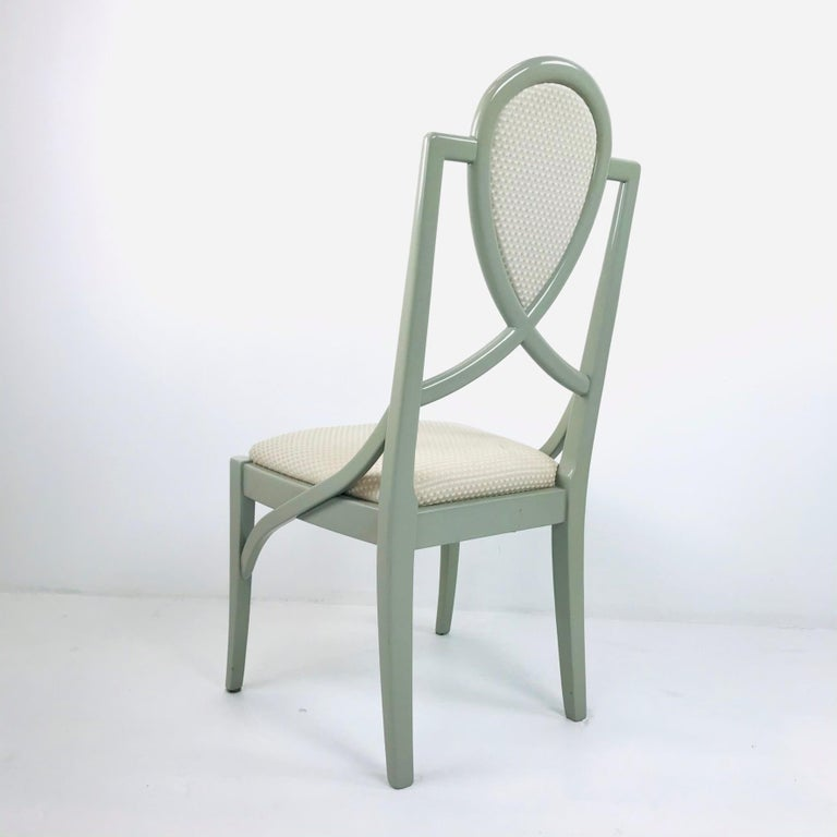 Set of 6 1980s Gray Lacquered Dining Chairs For Sale 3