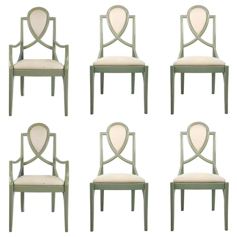 Set of 6 1980s Gray Lacquered Dining Chairs For Sale