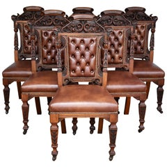Set of 6 19th Century Carved Walnut Dining Chairs