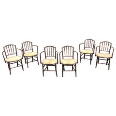 Set of 6 19th Century English Regency Armchairs in Original Paint