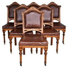 Set of 6 19th Century English Victorian Oak Dining Chairs