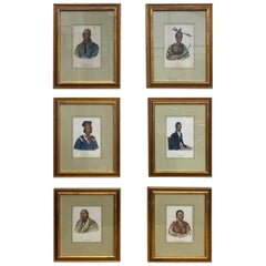 Set of 6 19th Century McKenney and Hall Portraits of Native Americans