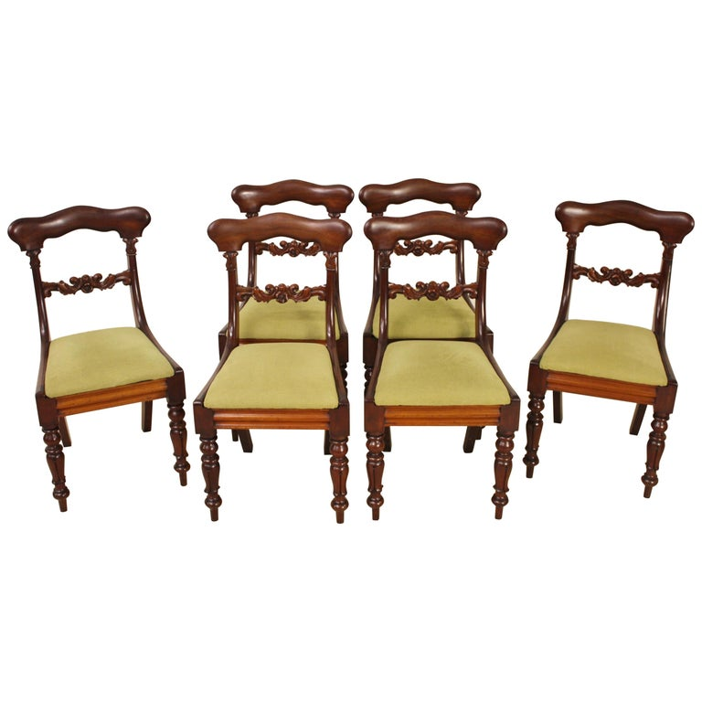 Set of 6 19th Century Victorian Mahogany Dining Chairs For Sale