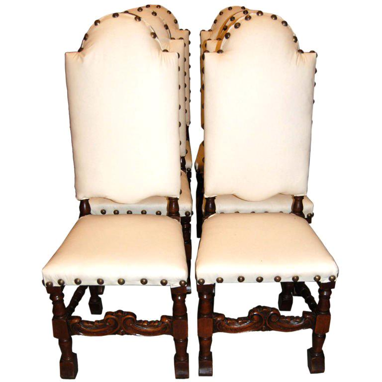 Set of 6 19th Century Walnut Chairs For Sale