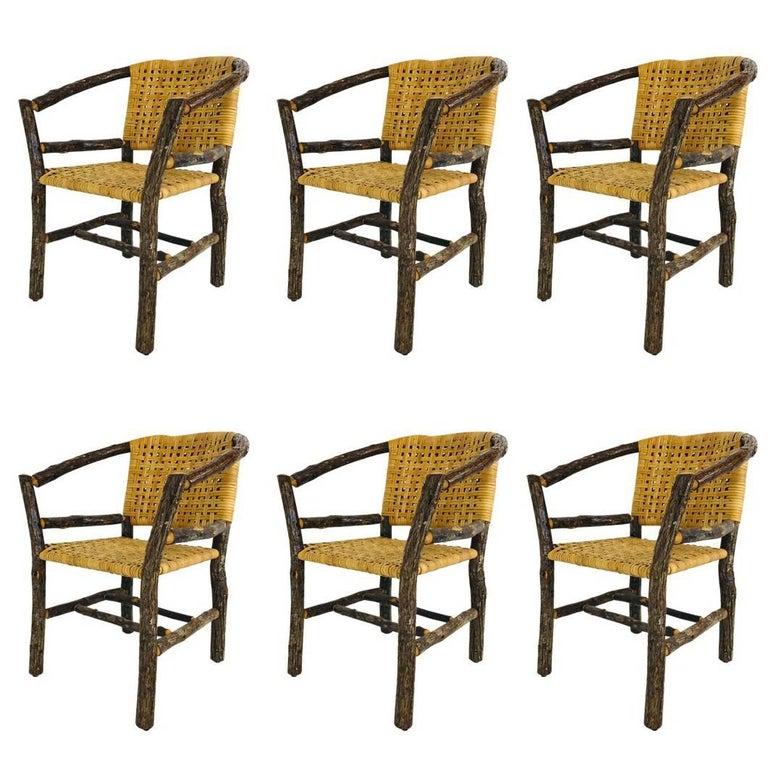 Set of Six Adirondack Hickory Chairs