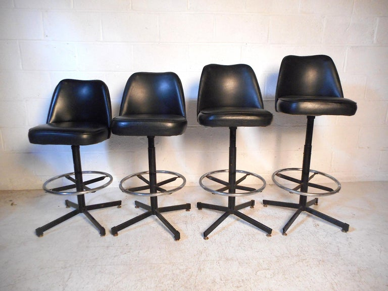 Set Of 6 Adjustable Swivel Stools By Admiral Chrome Corp