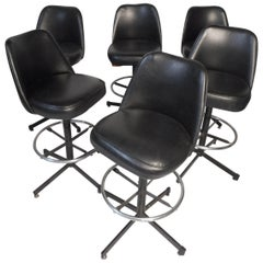 Set of 6 Adjustable Swivel Stools by Admiral Chrome Corp.