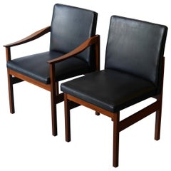 Set of 6 Afrormosia and Black Vinyl Dining Chairs by Robert Heritage, circa 1965