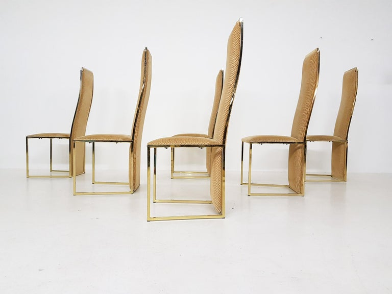 Hollywood Regency Set of 6 Alain Delon Gold-Plated High Back Dining Chairs, France, 1980s For Sale