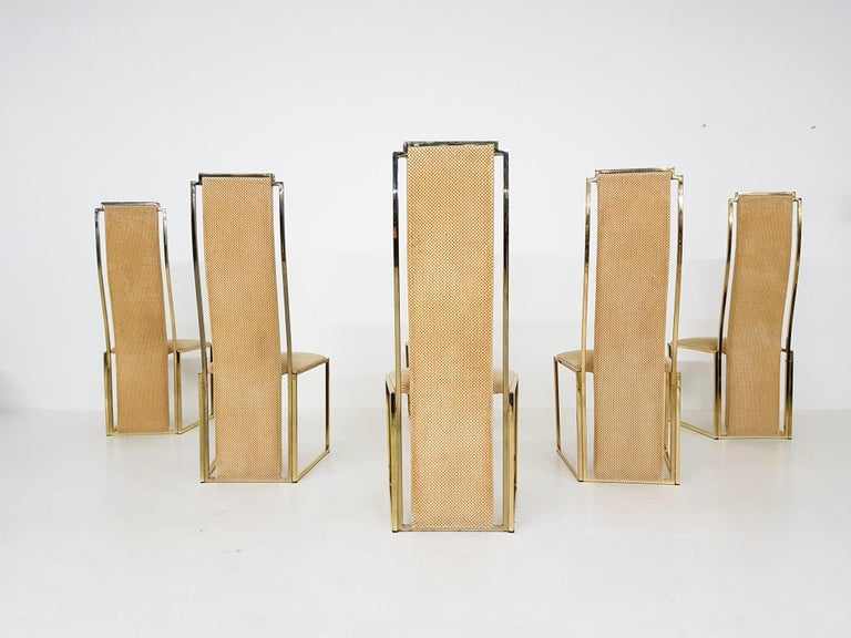 French Set of 6 Alain Delon Gold-Plated High Back Dining Chairs, France, 1980s For Sale