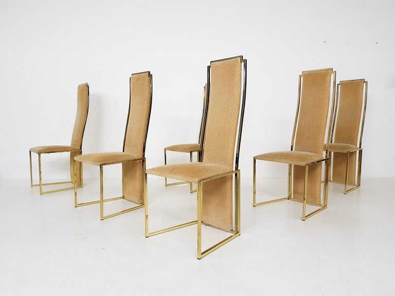 Set of 6 Alain Delon Gold-Plated High Back Dining Chairs, France, 1980s In Good Condition For Sale In Amsterdam, NL