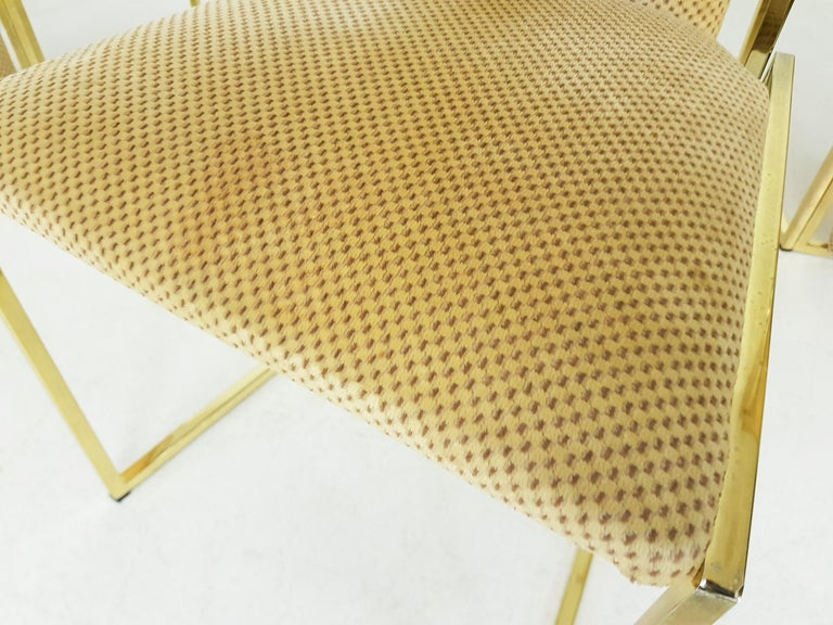 Fabric Set of 6 Alain Delon Gold-Plated High Back Dining Chairs, France, 1980s For Sale