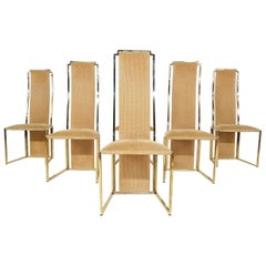 Set of 6 Alain Delon Gold-Plated High Back Dining Chairs, France, 1980s