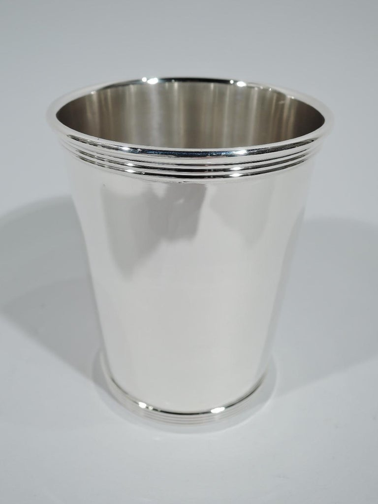 Modern Set of 6 Alvin Traditional Sterling Silver Mint Julep Cups For Sale