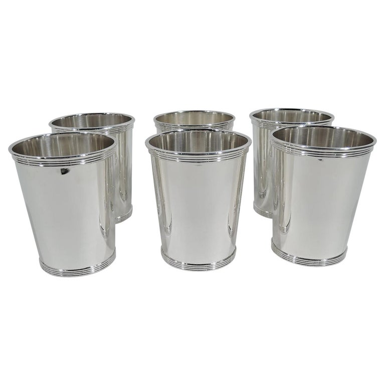Set of 6 Alvin Traditional Sterling Silver Mint Julep Cups For Sale