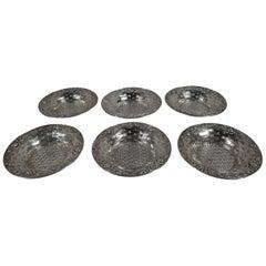 Set of 6 American Edwardian Sterling Silver Rose Basket Nut Dishes