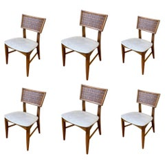 Set of 6 American Mid Century Atomic Age Walnut Dining Chairs 1 Captain Chair