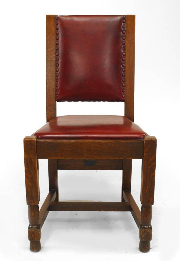 Set of six American mission oak side chairs with red leather seat and back (signed with metal tag: Quaint Furniture Stickley Bros. Co., Grand Rapids, Mich.).   During its early period of production, Stickley Brothers amassed a notable list of
