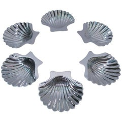 Set of 6 American Modern Sterling Silver Scallop Shell Nut Dishes