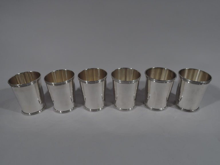 Set of 6 sterling silver mint julep cups. Made by Alvin in Providence. Each: Straight and tapering sides. Reeded rim and foot. A great starter set. Fully marked and numbered S251. Total weight: 22 troy ounces.