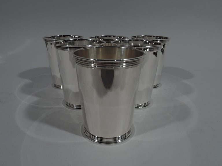 Set Of 6 American Sterling Silver Mint Julep Cups By