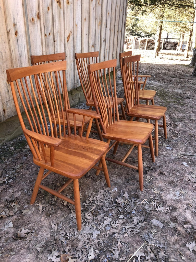 Set of 6 Amish Style Cherry Dining Chairs at 1stdibs
