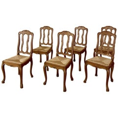 Set of 6 Antique Country French Dining Chairs with Rush Seats