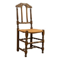Set of 6 Antique Dining Chairs, French, Beech, Country Kitchen Suite, circa 1900