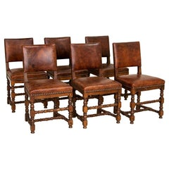 Set of 6 Antique Dining Chairs with Vintage Leather, Denmark