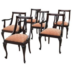 Set of 6 Antique English Mahogany Dining Chairs