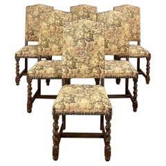 Set of 6 Antique French Barley Twist Dining Chairs