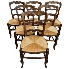 Set of 6 Antique French Carved Dark Oak Ladder Back Dining Chair Rush Seat