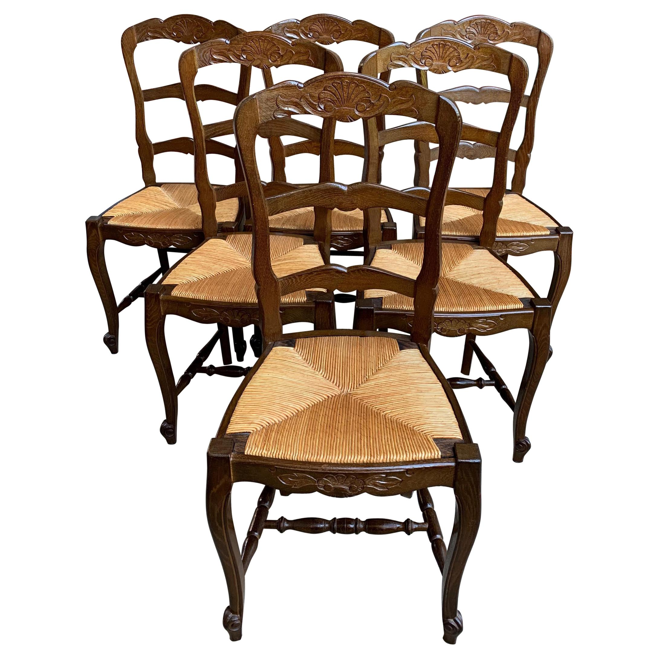Set of 6 Antique French Country Carved Oak Ladder Back Dining Chair Rush Seat