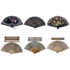 Set of 6 Antique French Fans Hand Painted on Lace & Wood, Boxes, 1800s-1900s