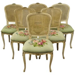 Set of 6 Antique French Louis XV Style Victorian Cane Back Dining Side Chairs