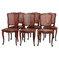 Set of 6 Antique French Louis XVI Carved Mahogany Cane Seat Side Chairs